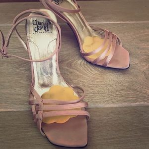 Charles David pink satin strappy sandal heels